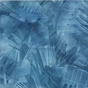 This is a highly textured watercolour with transparent layers in shades of blue and grey