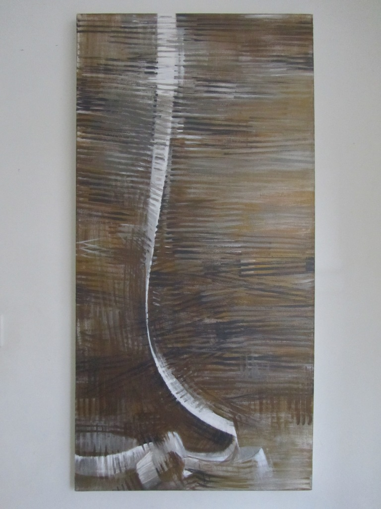 Silver, bronze and steel paint drag left and right expressing space around the form of a till receipt which flows from the top of the tall rectangular canvas, nearly dissappearing at one point and forming a pile of folded curves on a floor plane.